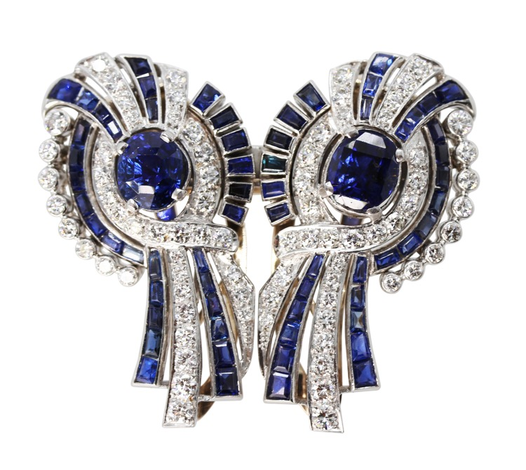 Platinum, 18 Karat White Gold, Sapphire and Diamond Double-Clip Brooch, circa 1950 - Image #4