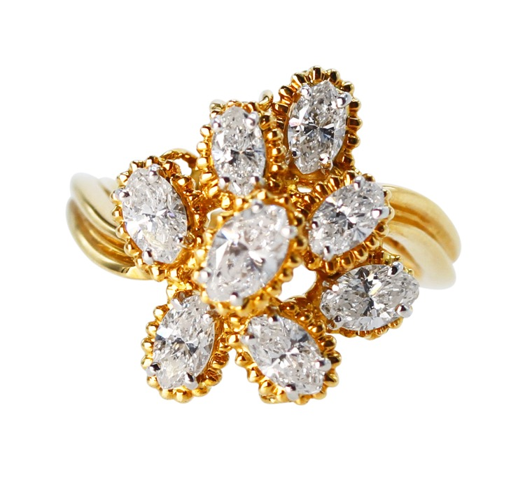 18 Karat Gold, Platinum and Diamond Ring by Oscar Heyman & Brothers