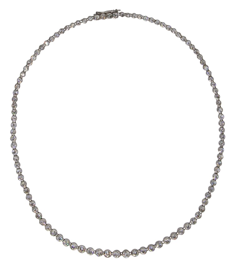 "Edwardian Platinum and Diamond ""Rivière"" Necklace by Tiffany & Co."