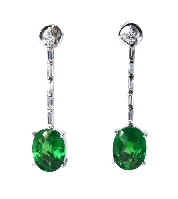 Pair of 18 Karat White Gold, Tsavorite and Diamond Pendant-Earrings