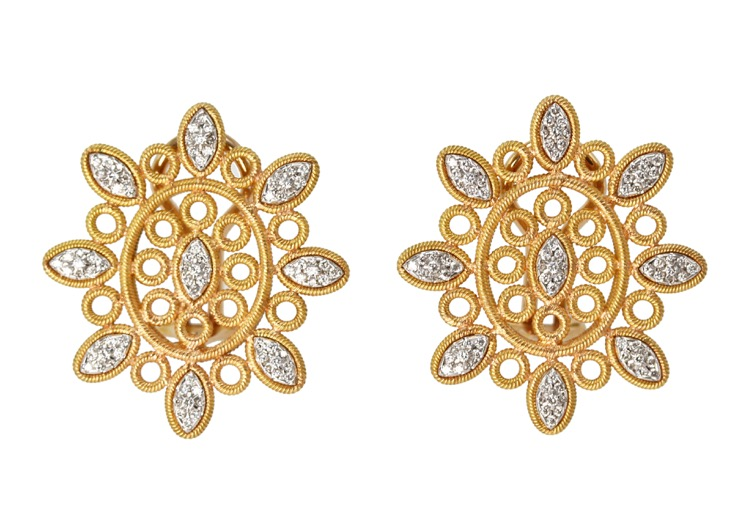 Pair of 18 Karat Gold and Diamond Earclips by Buccellati, Italy