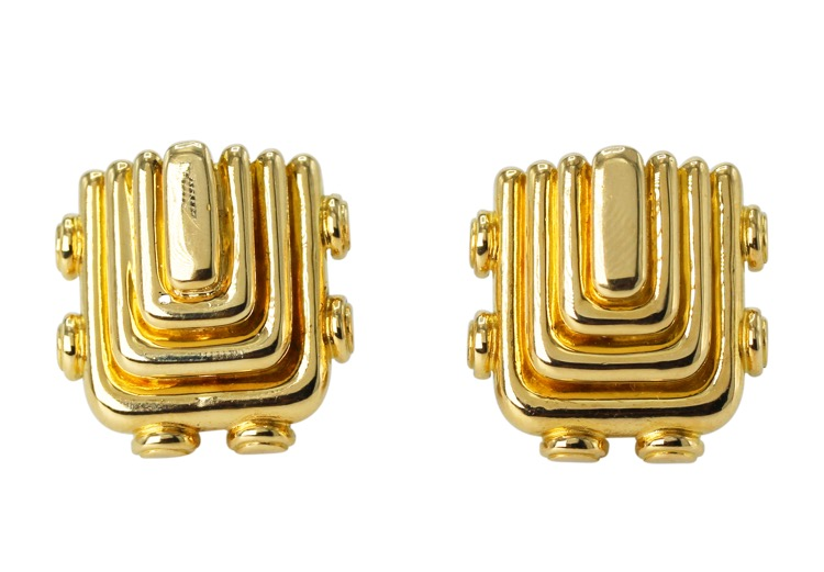Pair of 18 Karat Yellow Gold Earclips by Cartier