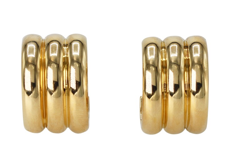 Pair of 18 Karat Yellow Gold Hoop Earclips by Cartier, France