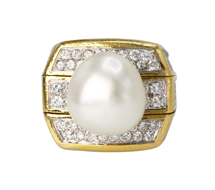 18 Karat Gold, Baroque Pearl and Diamond Ring by David Webb