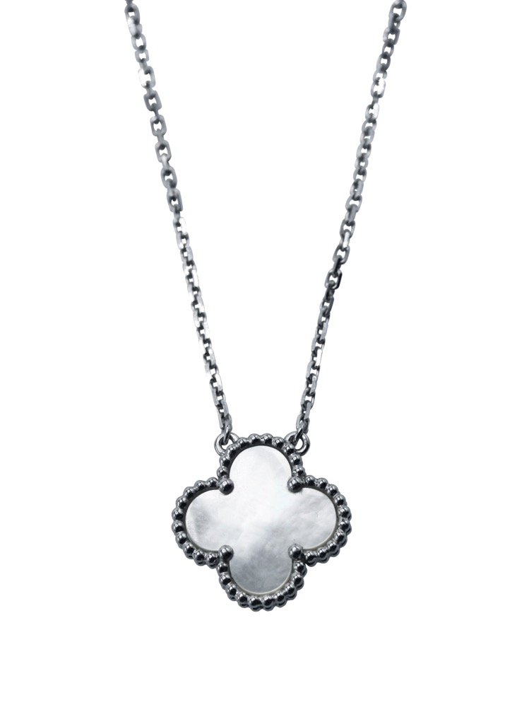 "18 Karat White Gold and Mother-of-Pearl ""Alhambra"" Pendant Necklace by Van Cleef & Arpels"