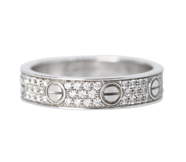 "18 Karat White Gold and Diamond ""Love"" Band, Cartier"
