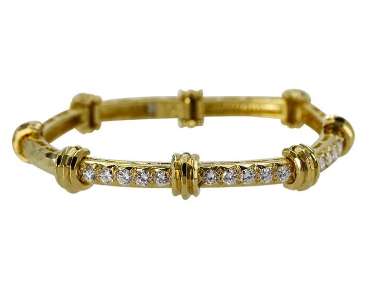 18 Karat Yellow Gold and Diamond Bracelet by Henry Dunay