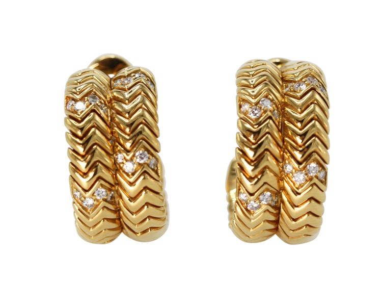 Pair of 18 Karat Gold and Diamond Earclips by Bulgari, Italy - Image #1