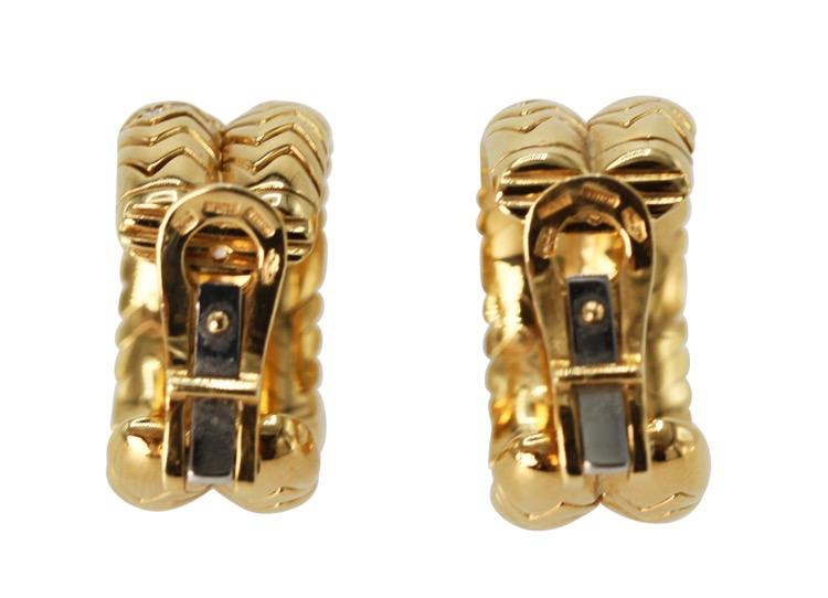 Pair of 18 Karat Gold and Diamond Earclips by Bulgari, Italy - Image #3