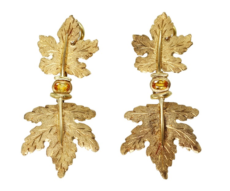 Pair of 18 Karat Gold and Yellow Sapphire Earclips by Buccellati, Italy