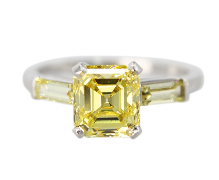 Platinum, Fancy Vivid Yellow Diamond Ring by J E Caldwell & Co., circa 1940