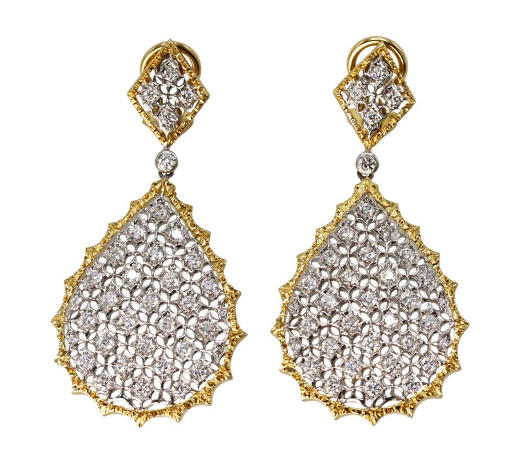 Pair of 18 Karat Two-Tone Gold and Diamond Pendant-Earrings by Buccellati, Italy