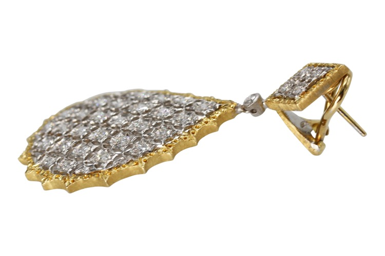 Pair of 18 Karat Two-Tone Gold and Diamond Pendant-Earrings by Buccellati, Italy - Image #2