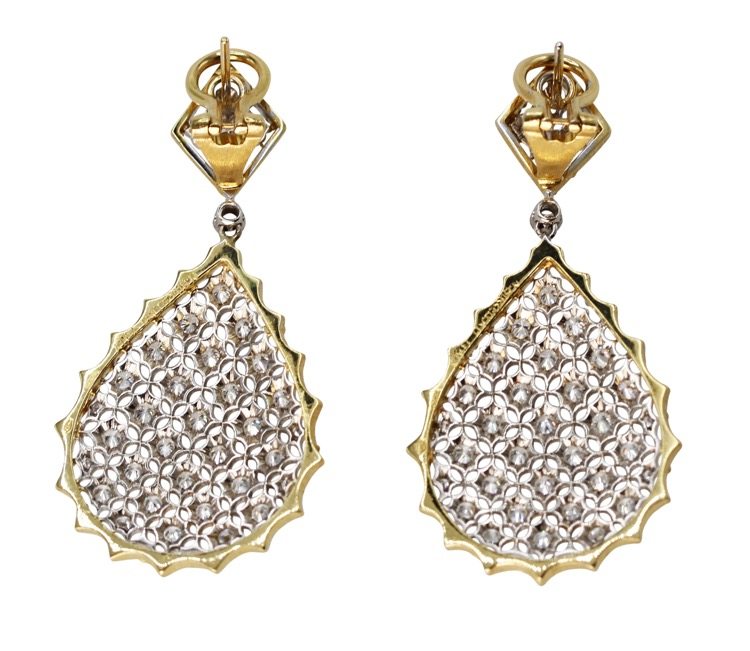 Pair of 18 Karat Two-Tone Gold and Diamond Pendant-Earrings by Buccellati, Italy - Image #3