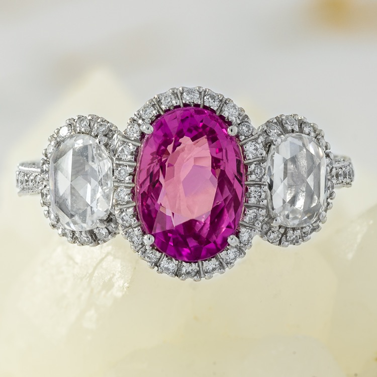 18 Karat White Gold, Pink Sapphire and Diamond Ring