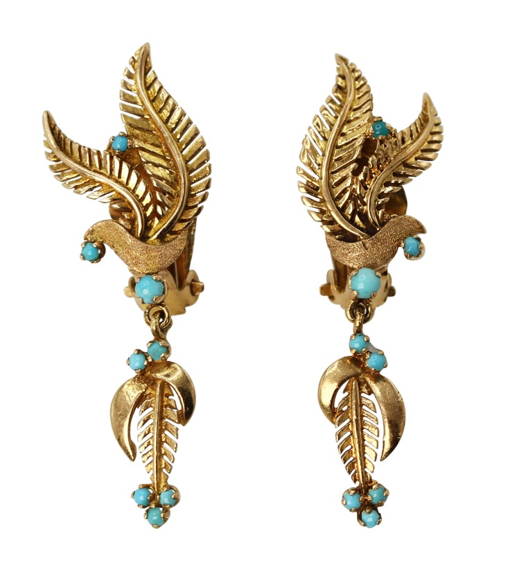 Pair of 18 Karat Gold and Turquoise Foliate Pendant-Earclips