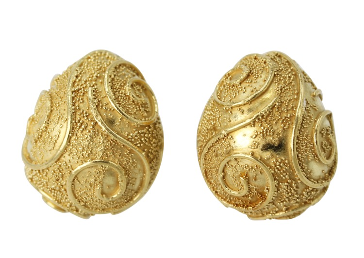 Pair of 18 Karat Gold Earclips by Elizabeth Gage