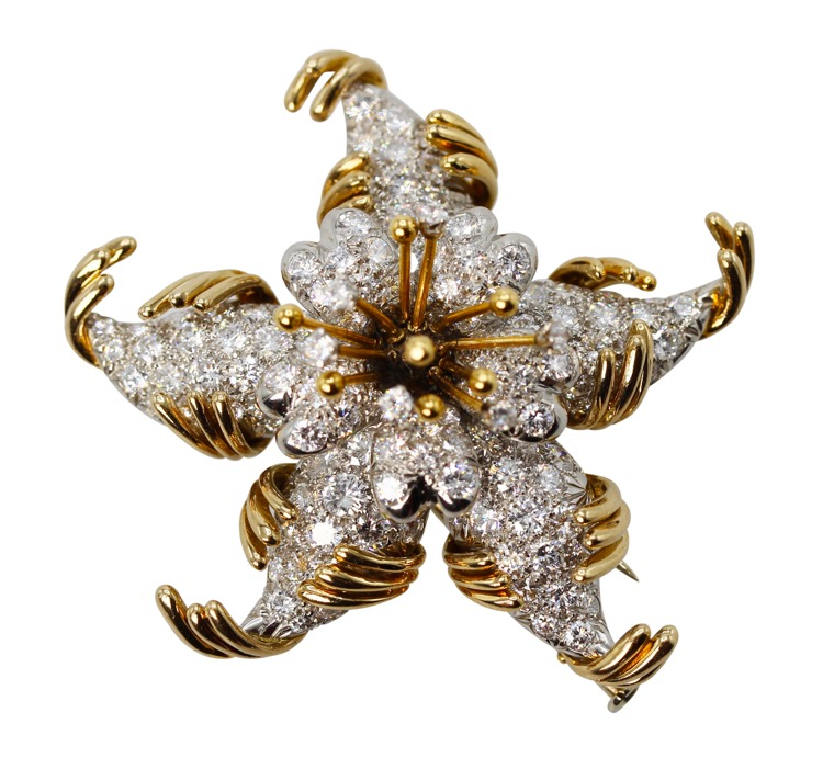 18 Karat Gold and Diamond Brooch by Schlumberger for Tiffany & Co., France