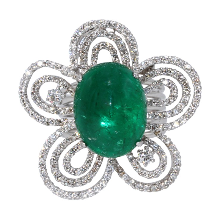 18 Karat White Gold, Emerald and Diamond Convertible Ring/Pendant