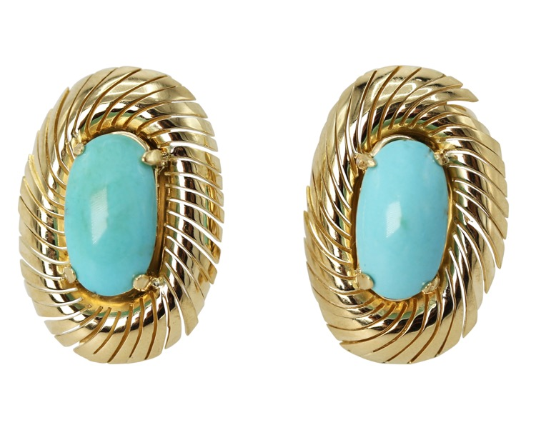 Pair of 18 Karat Yellow Gold and Turquoise Earclips