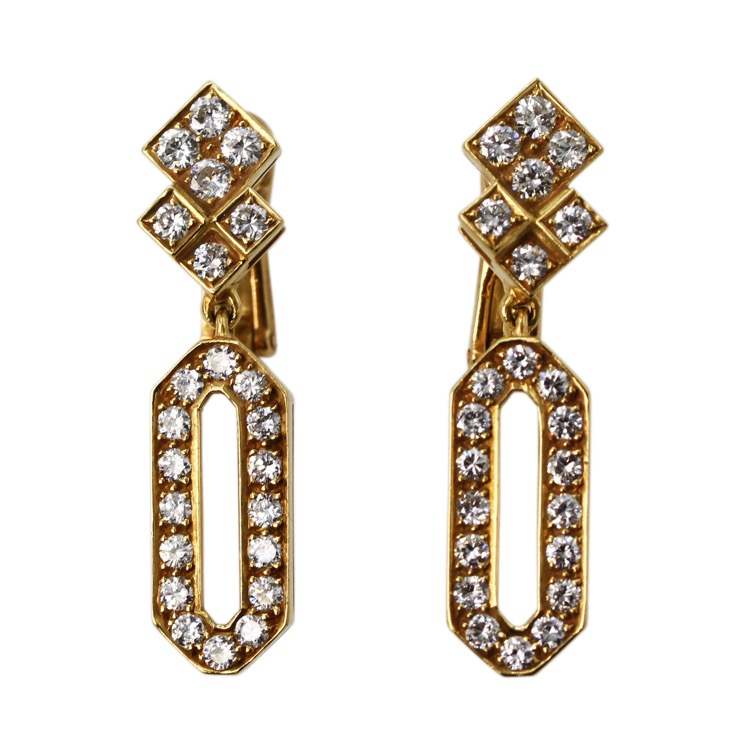 Pair of 18 Karat Yellow Gold and Diamond Earrings, France
