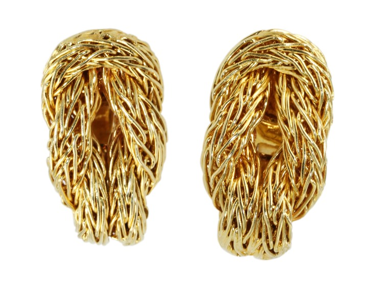 "Pair of 18 Karat Yellow Gold ""Herculean Knot"" Earclips, Greece"