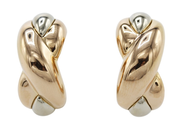 Pair of 18 Karat Pink and White Gold Earrings by Cartier, Italy