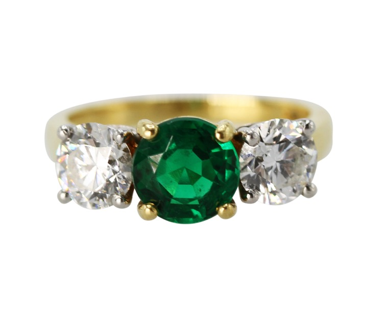 18 Karat Gold, Platinum, Emerald and Diamond Ring by Tiffany & Co.