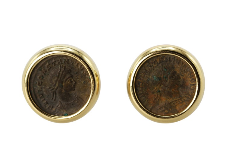 18 Karat Yellow Gold and Ancient Coin Earclips by Bulgari, Italy