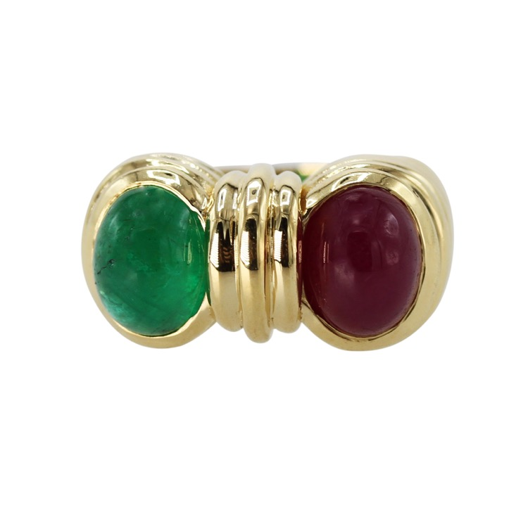 18 Karat Yellow Gold, Emerald and Ruby Ring