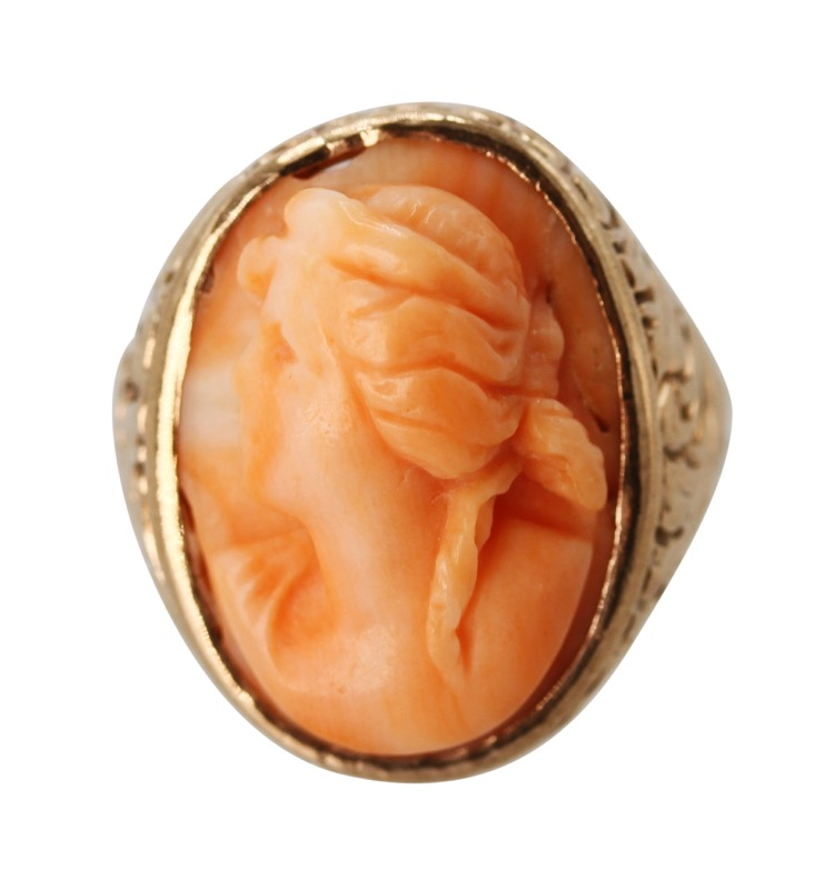 Antique 14 Karat Pink Gold and Carved Coral Ring