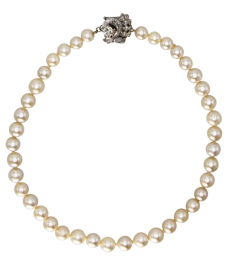 14 Karat White Gold and Pearl Diamond Necklace