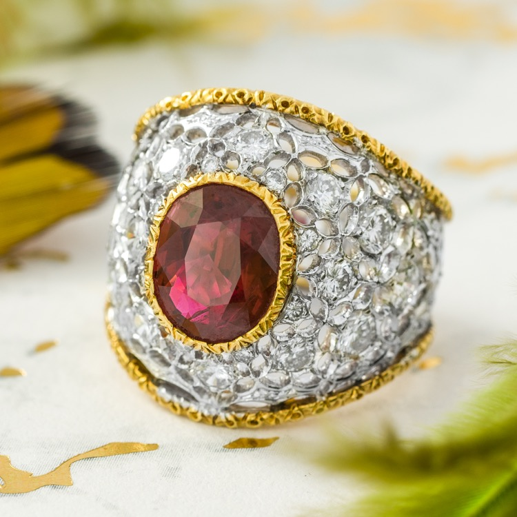 18 Karat Two-Tone Gold, Ruby and Diamond Ring by Buccellati, Italy