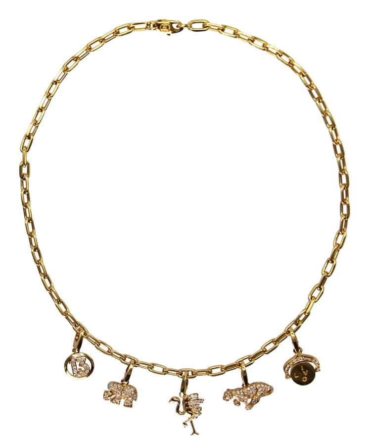 18 Karat Gold and Diamond Charm Necklace by Cartier