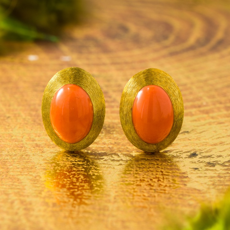 18 Karat Yellow Gold Coral Earrings by Henry Dunay
