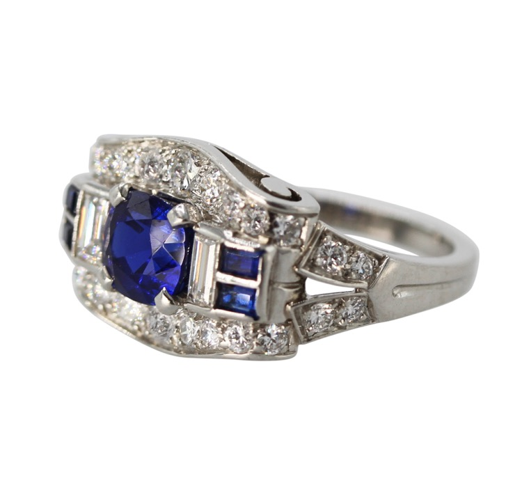 Platinum, Sapphire and Diamond Ring by Tiffany & Co., circa 1940 - Image #2