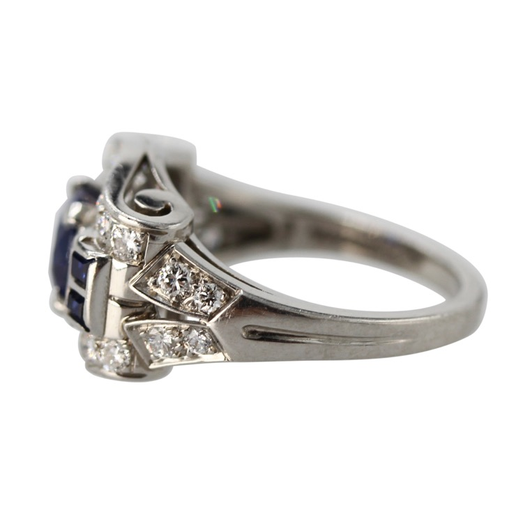 Platinum, Sapphire and Diamond Ring by Tiffany & Co., circa 1940 - Image #3
