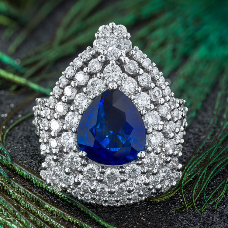 18 Karat White Gold, Sapphire and Diamond Ring