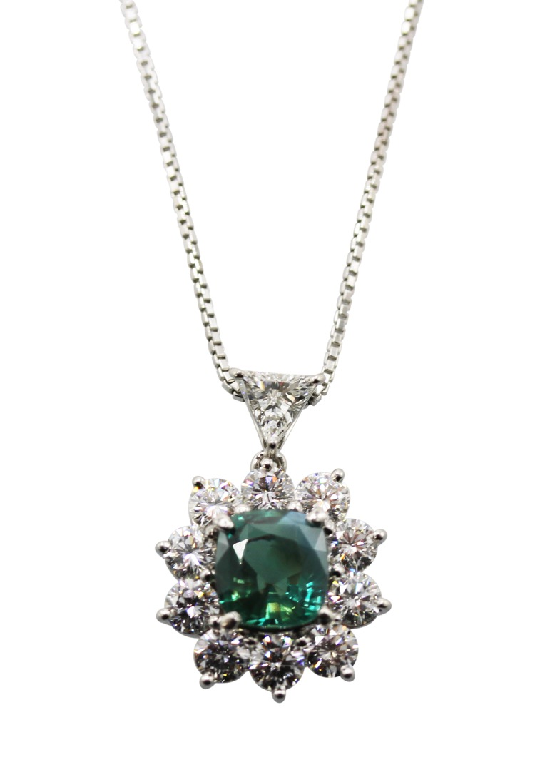 Platinum, Alexandrite and Diamond Necklace
