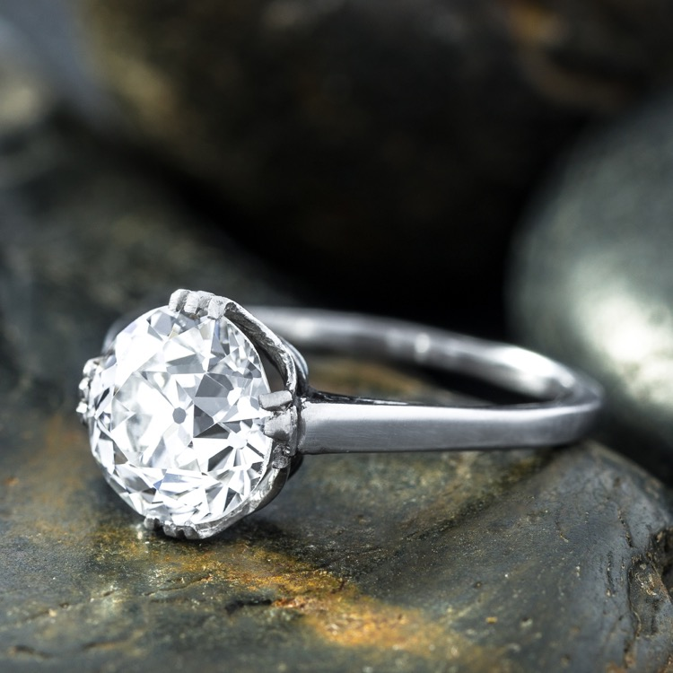 Antique Diamond Engagement Ring, Platinum