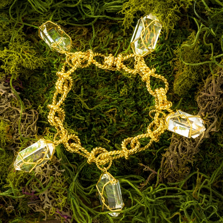 "18 Karat Gold and Rock Crystal ""Herkimer"" Charm Bracelet by Verdura"