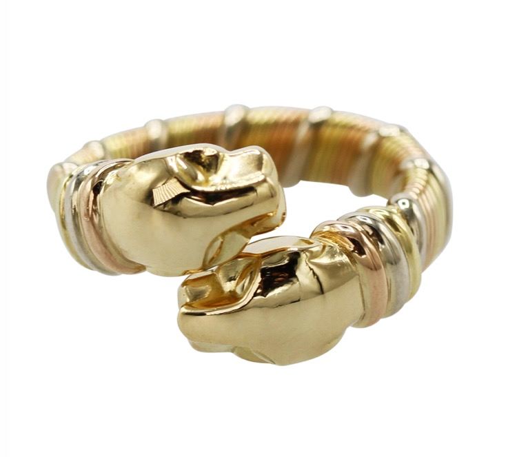 18K Tri-Colored Gold Double Head Panther Bypass Ring by Cartier
