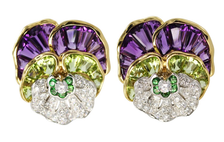Pair of 18 Karat Gold, Platinum, Amethyst, Peridot, Tsavorite and Diamond Pansy Earrings by Oscar Heyman & Brothers