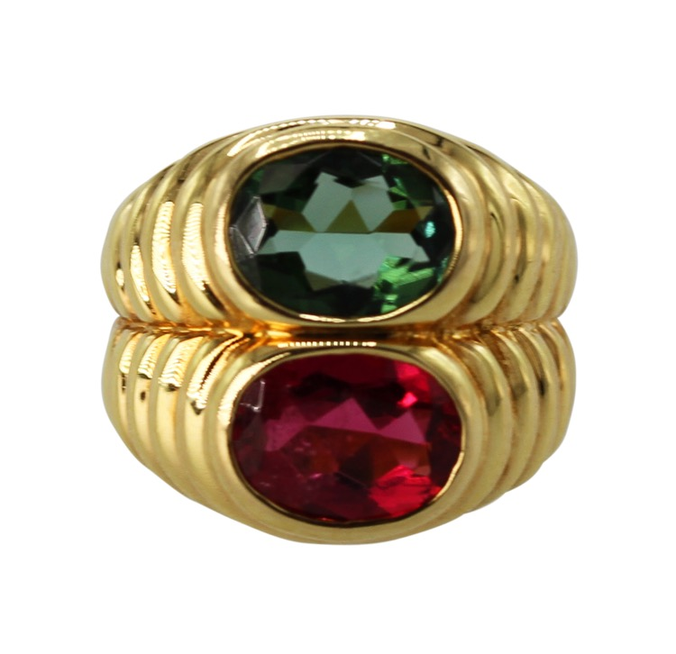 18 Karat Gold and Pink and Green Tourmaline Ring by Bulgari, Italy