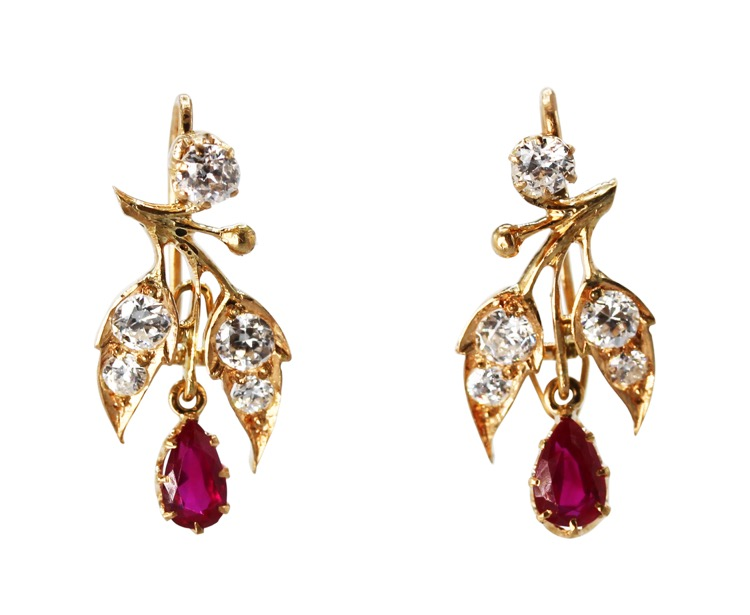 Antique Pair of 14 Karat Gold, Ruby and Diamond Pendant Earrings