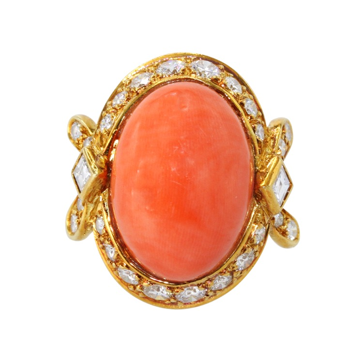 18 Karat Gold, Coral and Diamond Ring