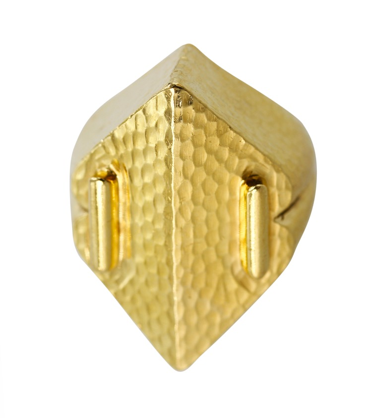 18 Karat Yellow Hammered Gold Ring