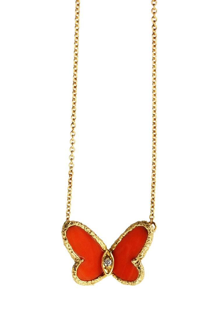 18 Karat Yellow Gold, Coral and Diamond Butterfly Pendant Necklace by Van Cleef & Arpels, New York
