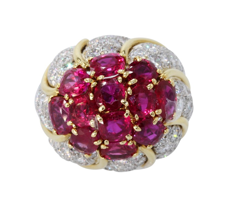 18 Karat Yellow Gold, Platinum, Ruby and Diamond Ring by David Webb