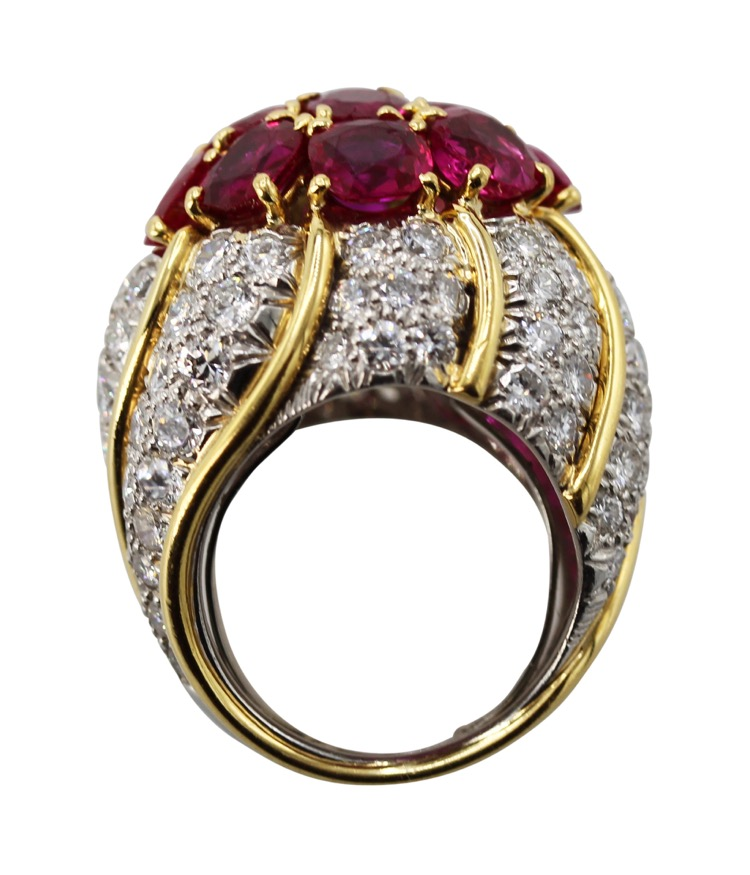 18 Karat Yellow Gold, Platinum, Ruby and Diamond Ring by David Webb - Image #5